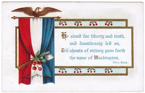 Vintage Patriotic Postcard, drape of Red-White-Blue, Eagle, Ax - 606253