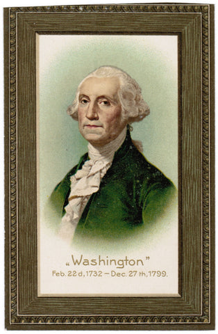 Vintage Patriotic Postcard Washington as if framed - B08196