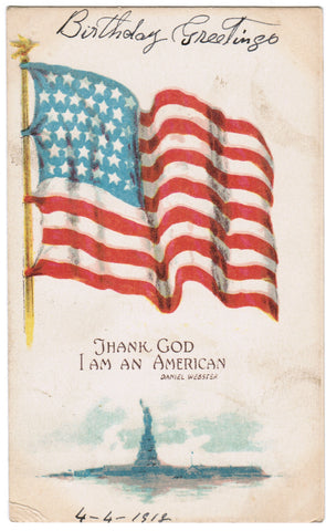 Vintage Patriotic Card Thank God I am an American, Daniel Webster - PAT C08502
