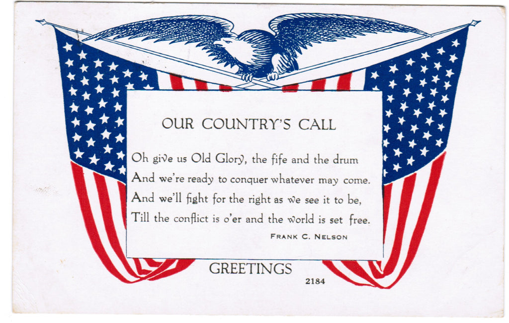 Vintage Patriotic Postcard Our Countrys Call by Frank C Nelson - PAT C08504