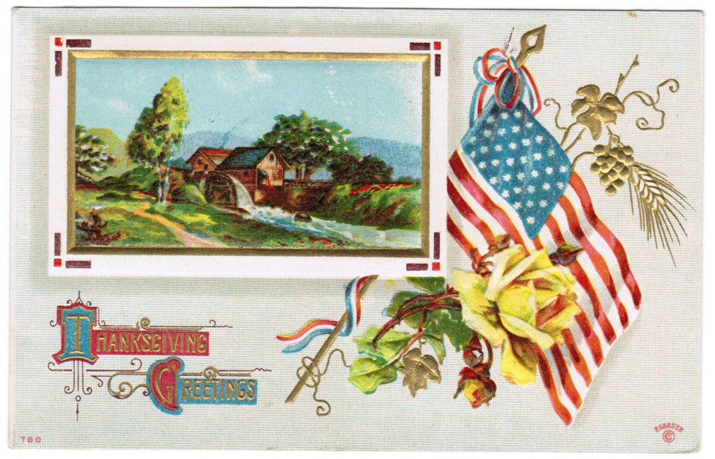 Vintage Patriotic Postcard Thanksgiving, flag, yellow rose - C08505
