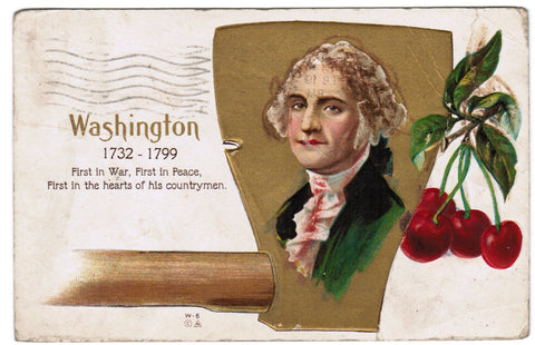 Vintage Patriotic Postcard Washington, cherries, ax, Nash - PAT C08506