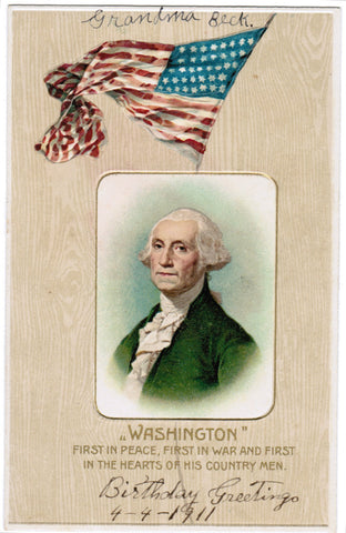Vintage Patriotic Postcard Washington, US Flag - C08507