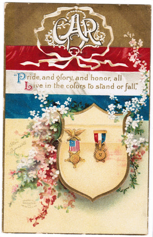 Vintage Patriotic Postcard GAR, shield with metals, Clapsaddle - C08508