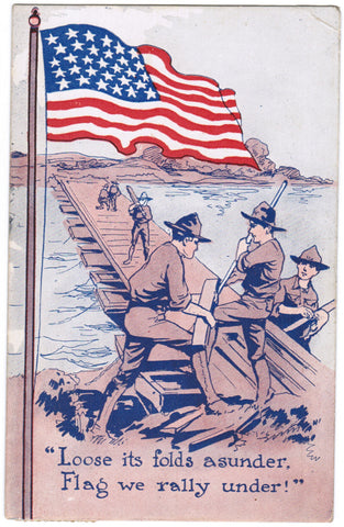 Vintage Patriotic Postcard US Flag on Pole, Army men working - C08509