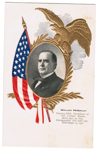 Vintage Patriotic Postcard William McKinley, flag, wreath, eagle - C08510