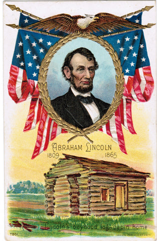 Vintage Patriotic Postcard Lincoln, boyhood home, with eagle - C08511