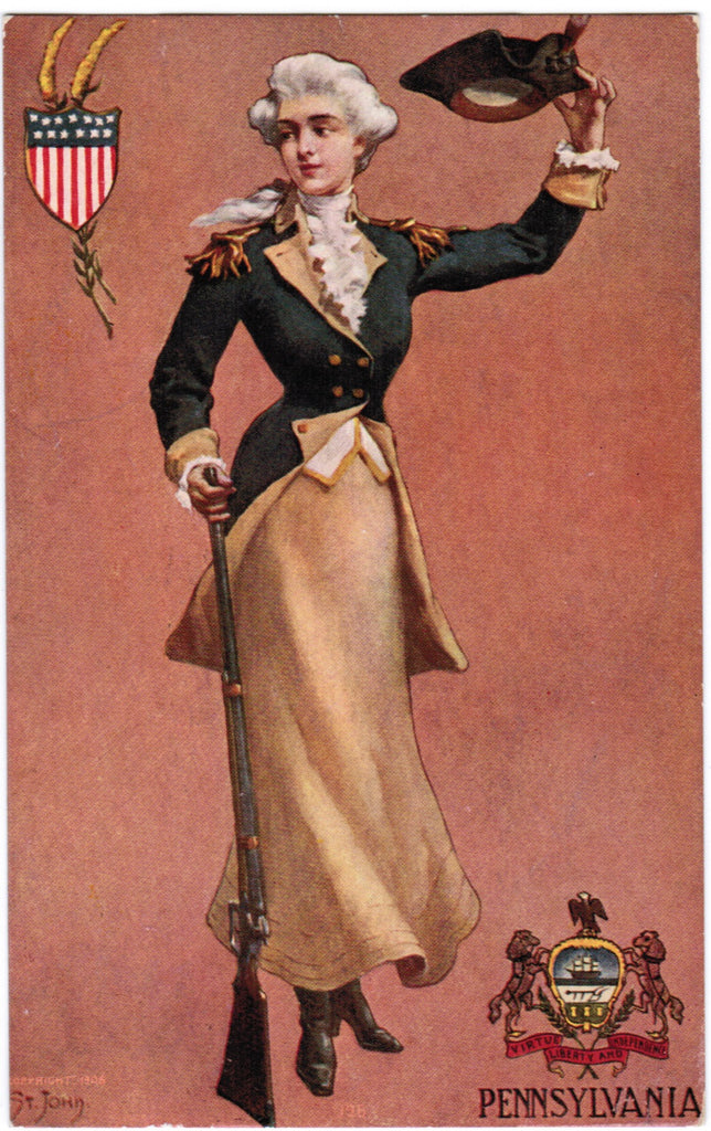 Vintage Patriotic Postcard PA State lady with rifle (ONLY Digital Copy Avail) - C08513