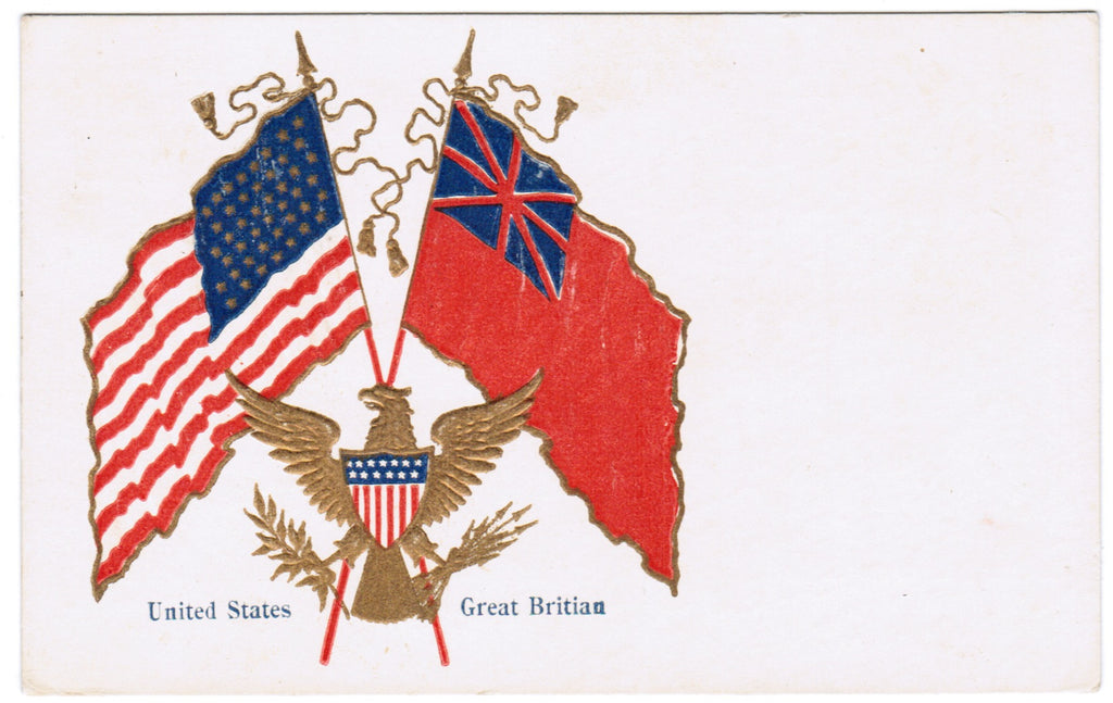 Vintage Patriotic Postcard United States and Great Britain flags - C08514
