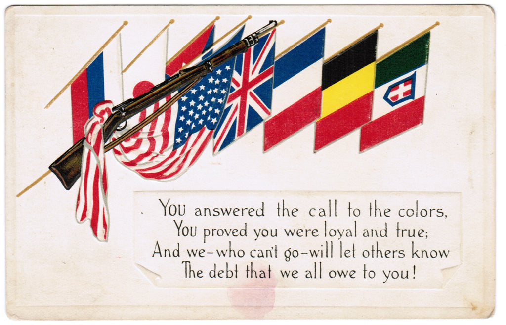 Vintage Patriotic Postcard rifle with the flags of 8 countries - C08515