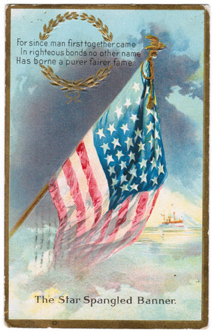 Vintage Patriotic Postcard Star Spangled Banner, US Flag - C08517