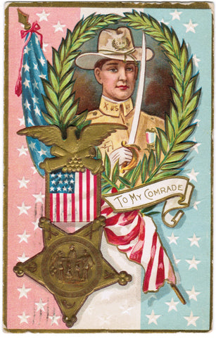 Vintage Patriotic Postcard To My Comrade, sword, medal, flag - C08518