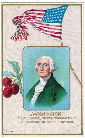 Vintage Patriotic Postcard, Washington, US Flag, Cherries - D06202