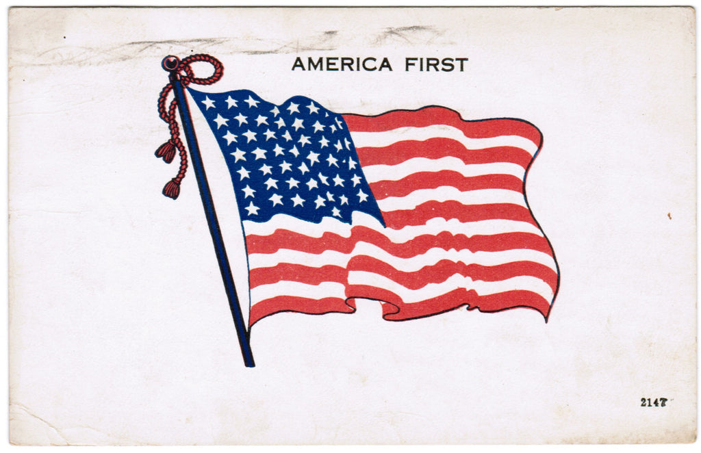 Vintage Patriotic Postcard America First flag (ONLY Digital Copy Avail) - D07052