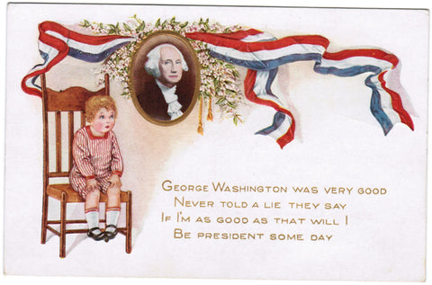 Vintage Patriotic Postcard George Washington, child on chair - D08047