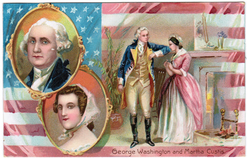 Vintage Patriotic Tuck Postcard George Washington and Martha Custis - PAT E10317