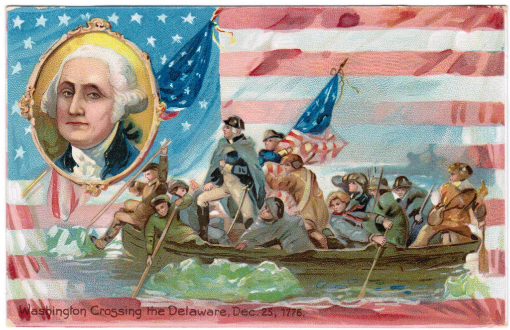 Vintage Patriotic Tuck Postcard Washington crossing Delaware - PAT E10320