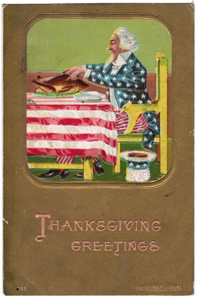 Vintage Patriotic Postcard Uncle Sam at Thanksgiving table - S01120