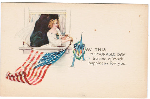 Vintage Patriotic Postcard with a lady hanging out her flag - PAT SH7297