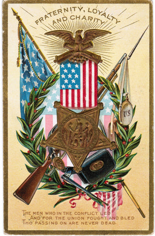 Vintage Patriotic Postcard Fraternity, Loyalty, Charity, rifle (ONLY Digital Copy Avail) - T00231