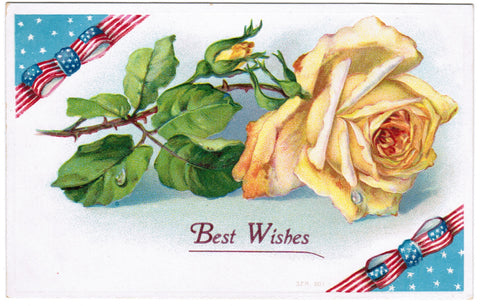 Vintage Patriotic Postcard large yellow rose with ribbons - w03186