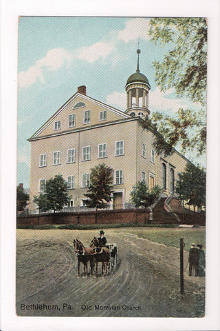 PA, Bethlehem - Old Moravian Church, horses with buggy - A17034