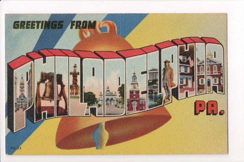 PA, Philadelphia - Greetings from, Large Letter postcard - B08282