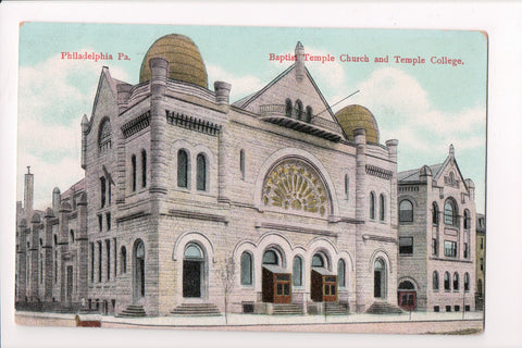 PA, Philadelphia - Baptist Temple Church and Temple College postcard - w02719