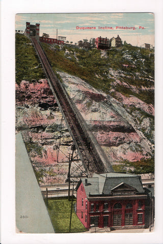 PA, Pittsburg - Duquesne Incline Plane building and tracks postcard - 800407