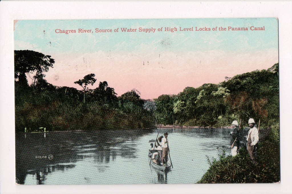 Foreign postcard - Panama Canal - Chagres River, misc military with guns - D1745