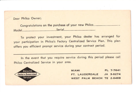 Advertisement postcard - PHILCO Factory Supervised Service card - K04042
