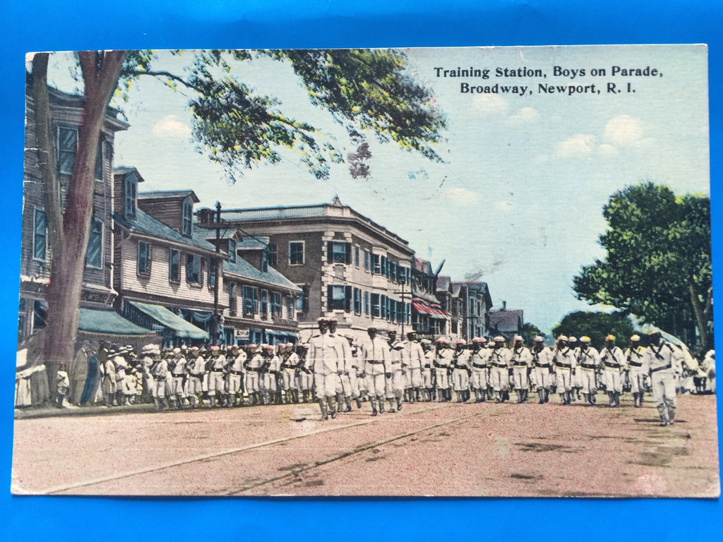 RI, Newport - Training Station Boys on Parade postcard - #500606