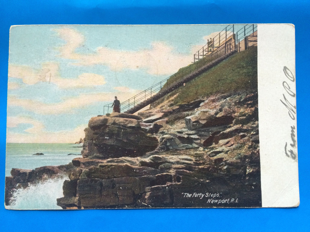 RI, Newport - The Forty Steps closeup postcard - A04044