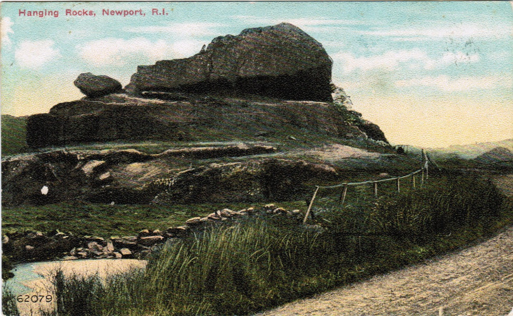 RI, Newport - Hanging Rocks closeup postcard - A07154