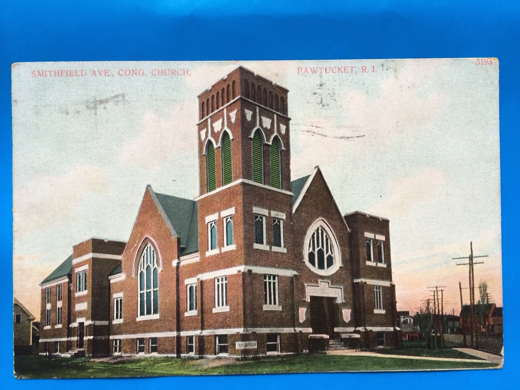 RI, Pawtucket - Smithfield Ave, Congregational Church postcard - B11159