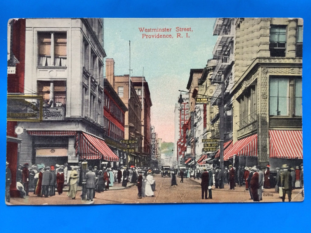 RI, Providence - Westminster Street with signs postcard - B11134