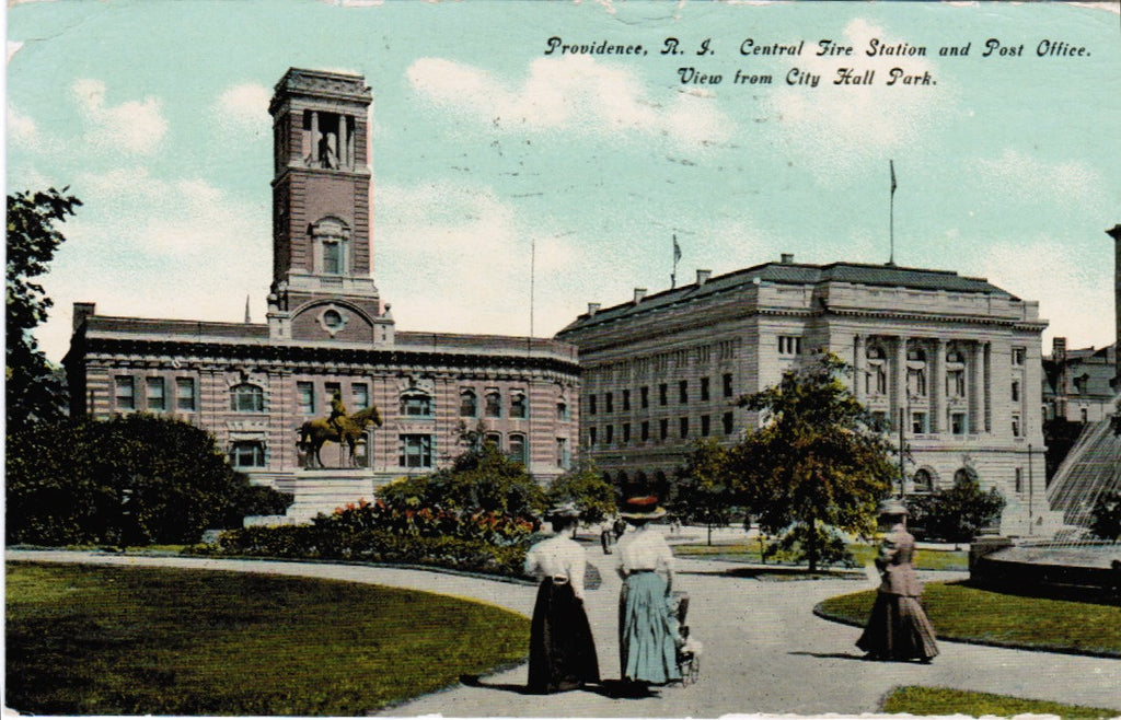 RI, Providence - Central Fire Station and Post Office, PO - E10408