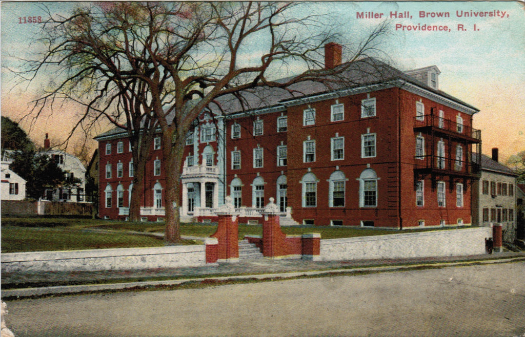 RI, Providence - Brown Univ, Miller Hall postcard - R01163