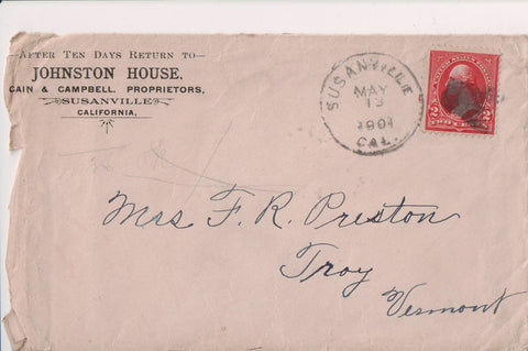 CA, Susanville - Johnston House - 1904 envelope - Cain and Campbell - S01127