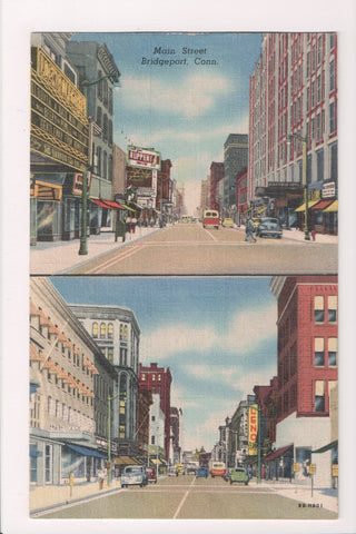 CT, Bridgeport - Main St multi view, 1950 postcard - S01212