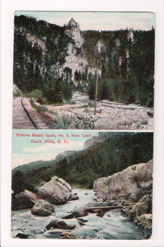 SD, Lead - Black Hills, multi view vintage postcard from @1909 - SL2105