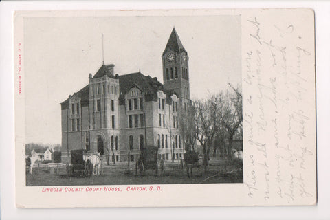 SD, Canton - Lincoln County Court House, horse and buggies postcard - G03389