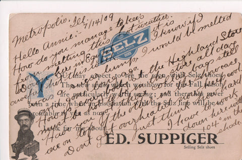 IL, Chicago - SELZ - Ed Suppiger, shoe salesman Advertisement @1909 - w00721