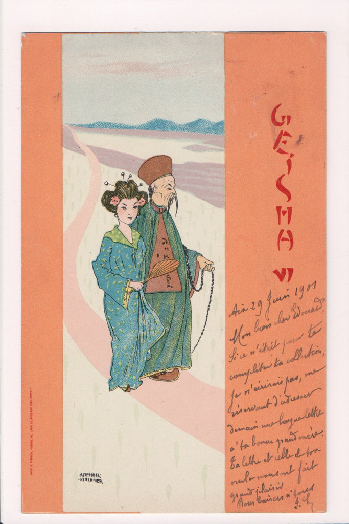 Greetings - Misc - Geisha Girls - Artist Signed Raphael Kirchner postcard - SL27