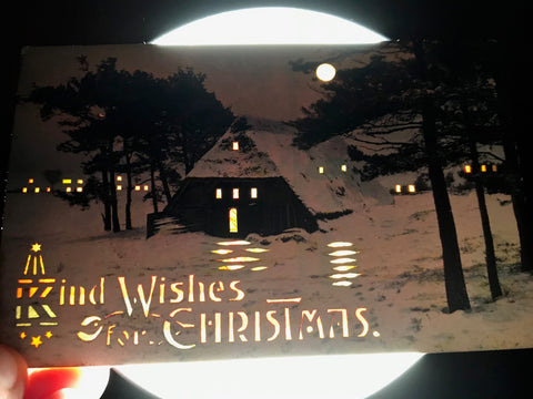 Xmas - Christmas  - Hold to Light, HTL - Cabin in woods postcard - SL2783