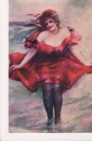 People - Female postcard - Pretty Woman - low cut red dress - SL2847