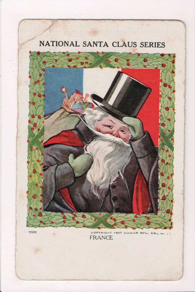 Xmas postcard - Christmas - Santa in black, top hat - SL2874