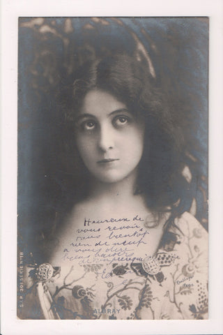People - Female postcard - Pretty Woman - REUTLINGER RPPC - dark hair - SL2911