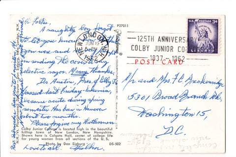 pm SLO - 125TH ANNIVERSARY COLBY - NH - 1962 Slogan / Logo cancel - bow00454