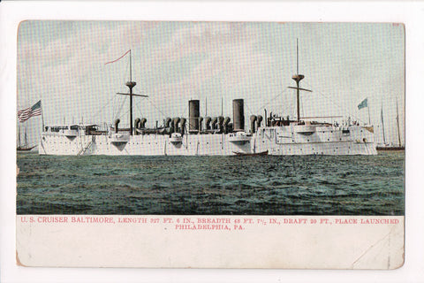 Ship, Boat or Steamer Postcard - BALTIMORE - US Cruiser, with stats - B06548